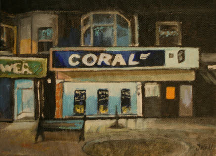 Postcard-sized original painting of Coral on Regent Road in Great Yarmouth